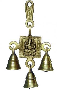 Belt with Bell Shree Ganesh Design - Brown Gold Color