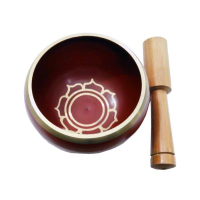 Red Patina Singing Bowl Carved with Stick