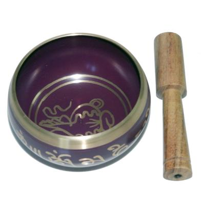Purple Patina Singing Bowl Carved  with Stick