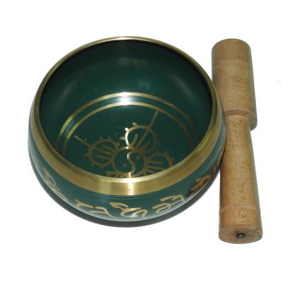 Green Patina Singing Bowl Carved with Stick